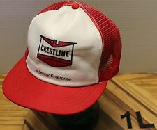 "VINTAGE CRESTLINE ""A SENTRY ENTERPRISE"" HAT RED & WHITE TRUCKERS SNAPBACK VGC"