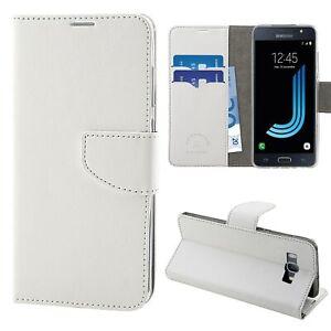 HQ Lateral Flip Libro Cover Custodia Magnetica per Samsung Galaxy J5 2016 Bianco