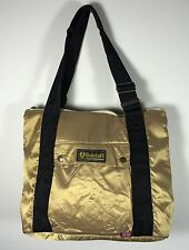 Authentic Belstaff Large Shopping Bag Gold Zippered Top Padded Polyamide NWT
