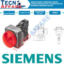 Indicatore Luminoso Verde 1Portalampada IP67 Diametro 22mm Siemens 3SB3604-6AA40