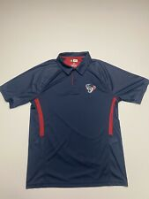 NFL HOUSTON TEXANS Team Apparel Mens Golf Polo Shirt Large Football Dri Fit Blue
