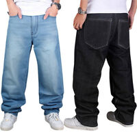 HIP HOP Black Blue Baggy Denim Jeans SkateBoarding Men Streetwear Pants Trousers