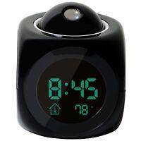 Multi-function Digital LCD Voice Talking LED Projection Alarm Clock Black WS