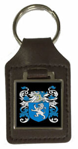 Mcafee Family Crest Surname Coat Of Arms Brown Leather Keyring Engraved