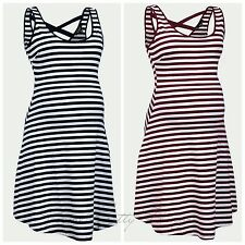 New Look Maternity Burgundy White Stripe Summer Holiday Pregnancy Dress 8-16