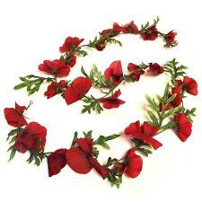 6 piedi artificiale Poppy Flower Garland-ROSSO FIAMMA remberance Decorativo Fiori