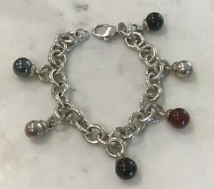 Tiffany & Co Sterling Silver Fascination Bracelet, Hematite, Onyx, Carnelian