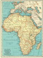1935 Antique AFRICA MAP Vintage Collectible Map of Africa Gallery Wall Art 8213