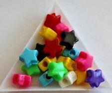 Plastic Star Opaque Pony Bead Mix. 13mm. 75 beads. #8680