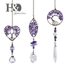 Pack 3 Purple Stone Tree of Life Crystal Suncatcher Hanging Prism Ball Pendants