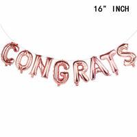 CONGRATS Rose Gold Foil Balloons Banner Congratulations Graduation Party Grad