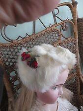 Vintage Child's Doll White, Authentic Rabbit Fur Hat Rosebud Trim ADORABLE!