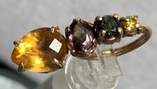 Tourmaline & Diamond navel belly ring Rose Gold Citrine, Color Change Sapphire,