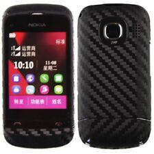 Skinomi Carbon Fiber Black Phone Skin+Screen Protector Cover for Nokia C2-06