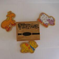 Boite 3 puzzles animaux de la ferme en bois chien vache mouton fait main