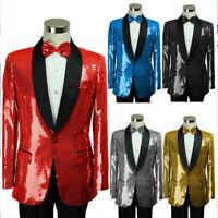 Men's Sequins Sparkly Lapel Collar Tuxedo Suit Jackets Coat Evening Party Blazer
