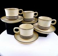 "DENBY - LANGLEY SAHARA BROWN TRIM 4 SPECKLED 2 3/4"" CUP & SAUCER SETS 1979-1987"
