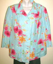 Emma James Woman Turquoise Floral Linen Blazer Jacket Plus Size 18W