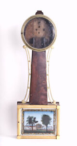 American weight driven banjo clock case only @ early 1800s Good