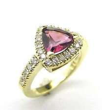 14 KT YELLOW GOLD PINK TOURMALINE LADY'S COCKTAIL RING WITH 0.60 CT DIAMOND.