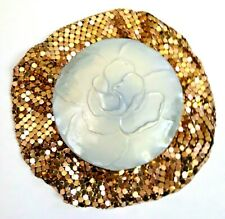 New ListingVintage Art Deco Evans Gold Mesh Pouch Vanity Compact with Embossed Rose Enamel.
