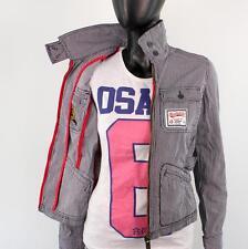 Superdry mujer talla XS Fine Tailoring chaqueta corta azul marino blanco a1183
