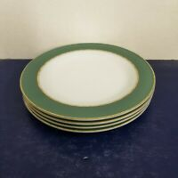 """Lot of 4 Vintage MCM Dove Gray w/ Gold Band Pyrex 10"""" Dinner Plates Made in USA"""