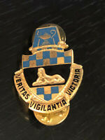 Vintage Collectible Military Crest Vigilantia Colorful Metal Pinback Lapel Pin