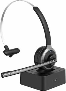 MPOW Bluetooth Headset PC Telephone Microphone Wireless Charging Adjustable Mic