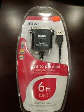 Ativa USB to Parallel Printer Cable 6ft Adapter Cable New Factory Sealed