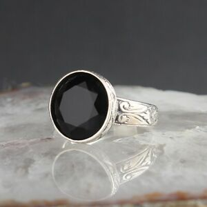 Handmade pure 925 SILVER king rings Black crystal Men all sizes jewelry RRP £30