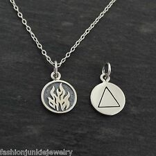 Tiny FIRE Elements Charm Necklace - 925 Sterling Silver - Doubled Sided NEW