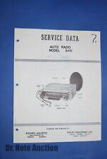 Philips Service Brochure for Car Radio Model 845 1957 Dodge