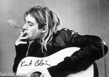 KURT COBAIN NIRVANA B/W Acoustic Guitar Cloth Fabric Poster Flag Tapestry-New!