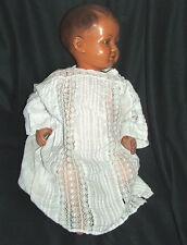 Rare ancienne robe de baptême en coton et dentelle à restaurer