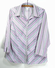 Women's Large Blouse by Worthington Lavender, Black & White, 97 Poly 3 Spandex