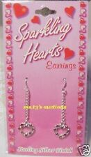 Red And White Gem/S On Heart Shaped Dangle Earrings Sterlling Silver finish Nip