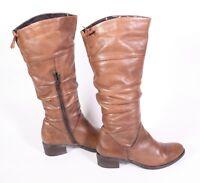 22S Venturini Damen Stiefel Leder braun Gr. 37 Slouchy Boots flacher Absatz