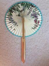 Vintage Midget Hand Fan No 104 Hong Kong Dragon Gold Flowers Butterflies