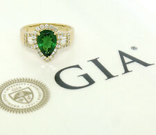 14K Yellow Gold 2.80ctw GIA Pear Cut Tsavorite Green Garnet & Diamond Halo Ring