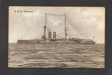 REAL-PHOTO POSTCARD:  HMS BRITANNIA - BRITISH ROYAL NAVY WW-1 BATTLESHIP