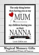 "Mothers day mum nana nanna grandma granny gran personalised print gift 7"" x 5"""