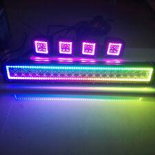 "120W 22"" LED Light Bar w/ RGB Halo Ring Chasing + 4pcs 3"" Cube Halo Pods Offroad"