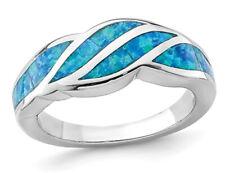 Laboratorio creado anillo de onda incrustación de ópalo azul en plata esterlina