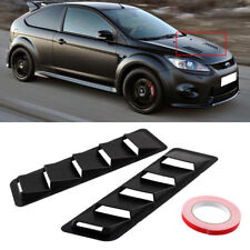 2Pcs Universal Car Bonnet Hood Vent Louver Cooling Panel Trim Matte Black ABS