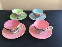 1940/50's Royal Leighton Ware Bone China Cups & Saucers; Set of 4; Chintz