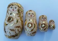 Set of 4 Russian Nesting Dolls Hand Painted Wood Burned Wooden Gold Trim Accent