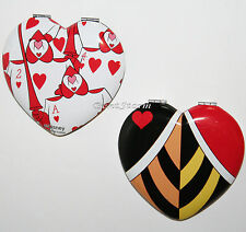 Disney Alice in Wonderland Red Queen of Hearts Make-up Heart Shaped MIRROR Case