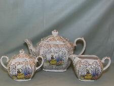Vintage Sadler Pottery Cube Teapot Milk Jug & Sugar Bowl Crinoline Lady