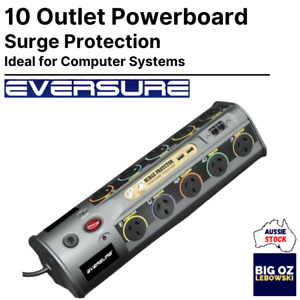 Eversure 10 Outlet Computer Station Powerboard   USB   COAX   SURGE PROTECTION